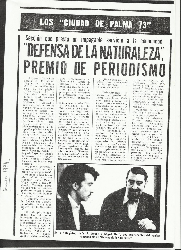 Premi Ciutat de Palma de Periodisme 20.I.1974