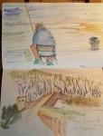 Pescador a Santoña i pont medieval